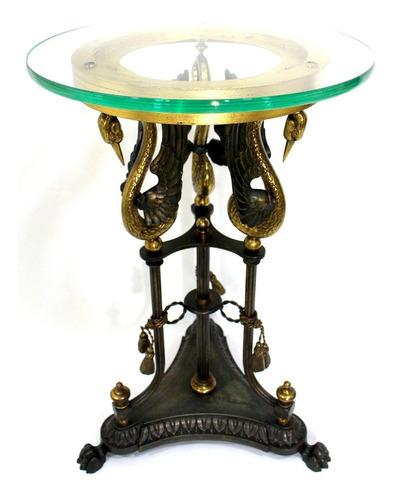 antigua mesa de centro estilo imperio de bronce y cristal