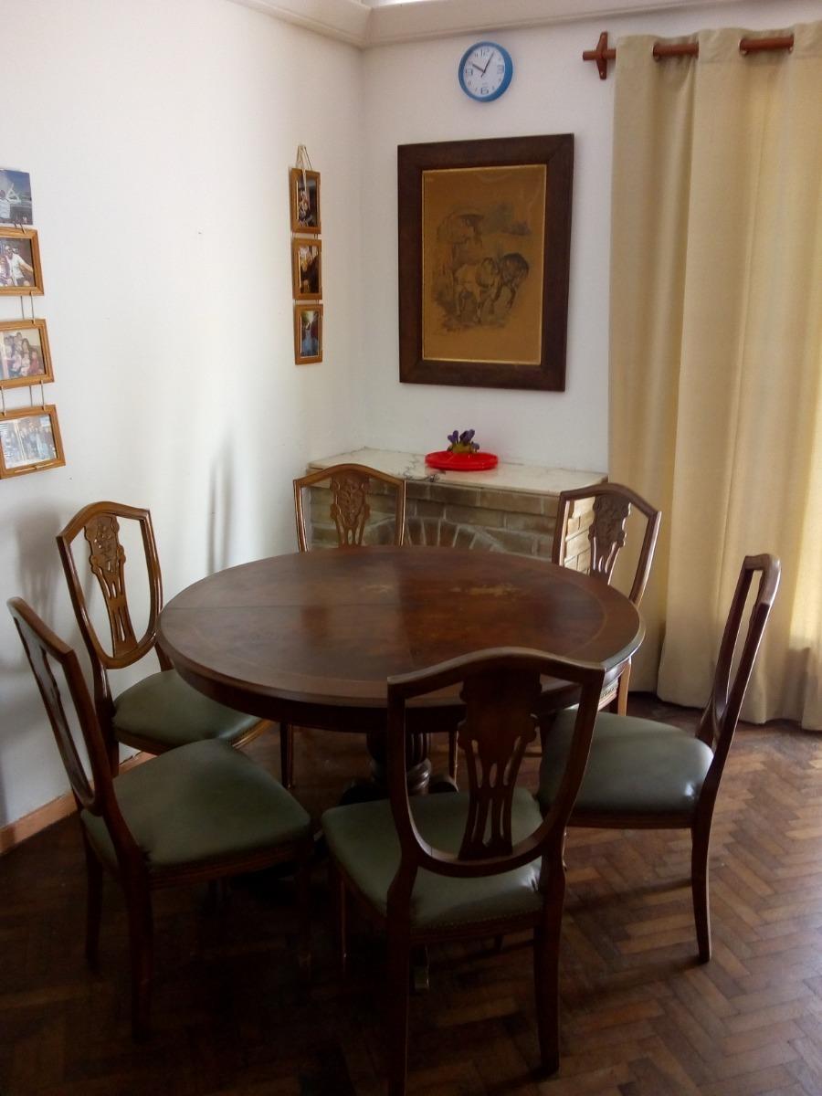 Antigua Mesa De Comedor Redonda Extensible Con 6 Sillas - $ 20.000 ...