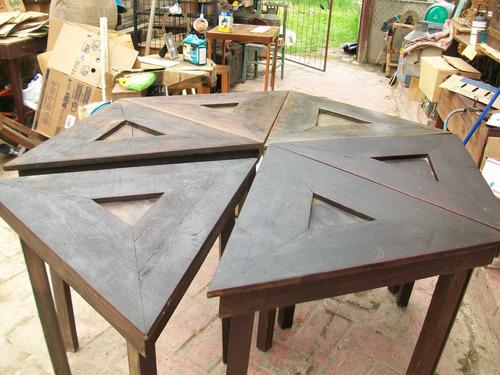 antigua mesa de madera, para jugar, es de 6 piezas