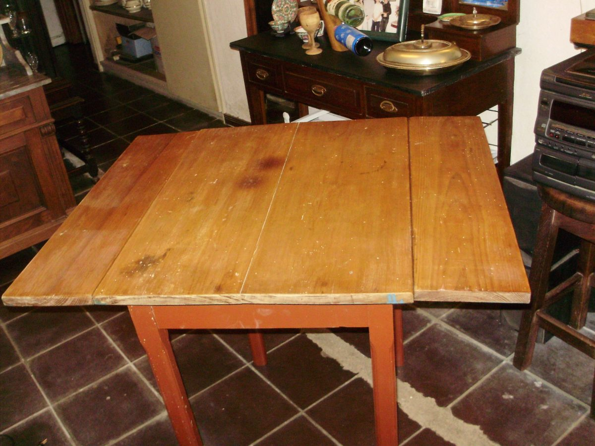 Antigua mesa madera vista pino blanco cocina alas - Mesas antiguas de cocina ...