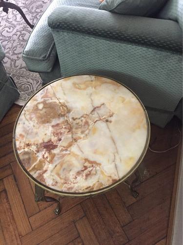antigua mesa ratona en bronce y mármol