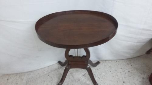 antigua mesa tipo lira princ siglo xx, madera caoba