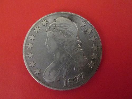 antigua moneda half dollar busto año 1827 de plata  escasa