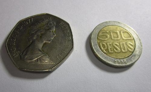antigua moneda new pence 50 1977 elizabeth 2