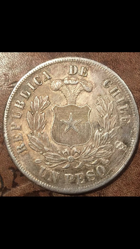 antigua moneda plata chile 1 un peso aguila 1886 escasa