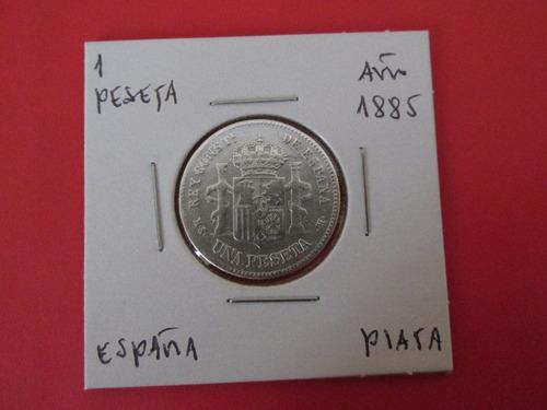 antigua moneda reino de  españa 1 peseta plata año 1885
