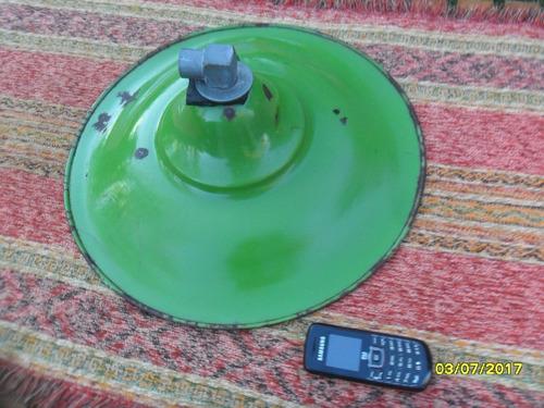 antigua pantalla lampara enlozada tipo galponera rara 40 cm