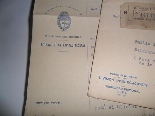 antigua papeleria carta 1945 policia de la capital policial
