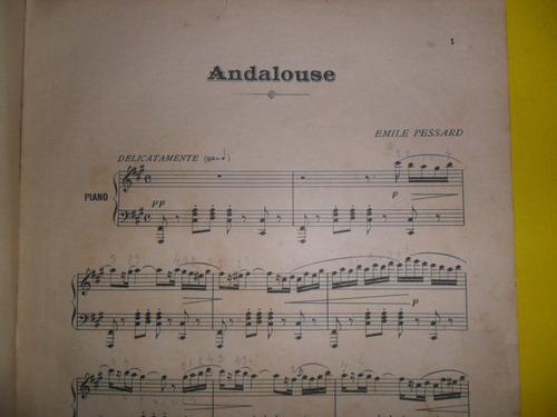 antigua partitura andalouse emile pessard piano