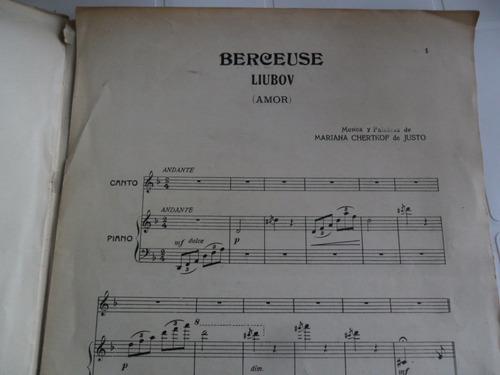 antigua partitura berceuse liubov amor piano chertkof justo