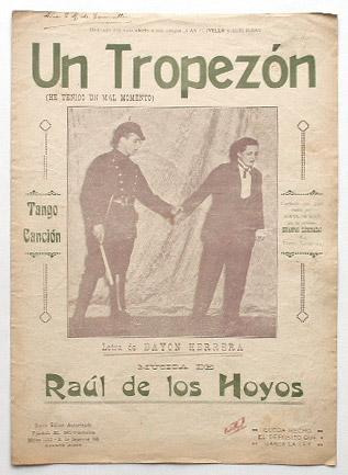 antigua partitura tango - un tropezon - bayon herrera