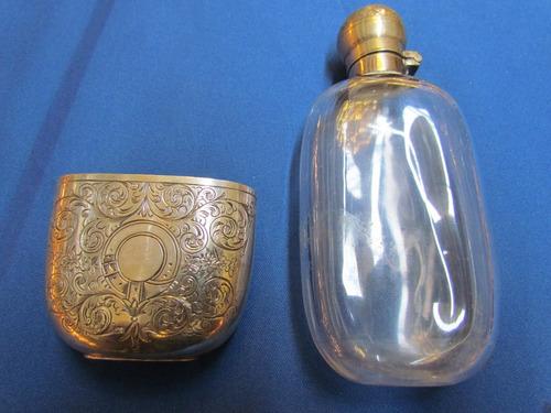 antigua petaca de cristal y plaque con plata c 1900 impecabl