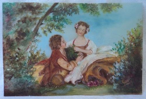 antigua pintura en celuloide firmada rossi escena romantica