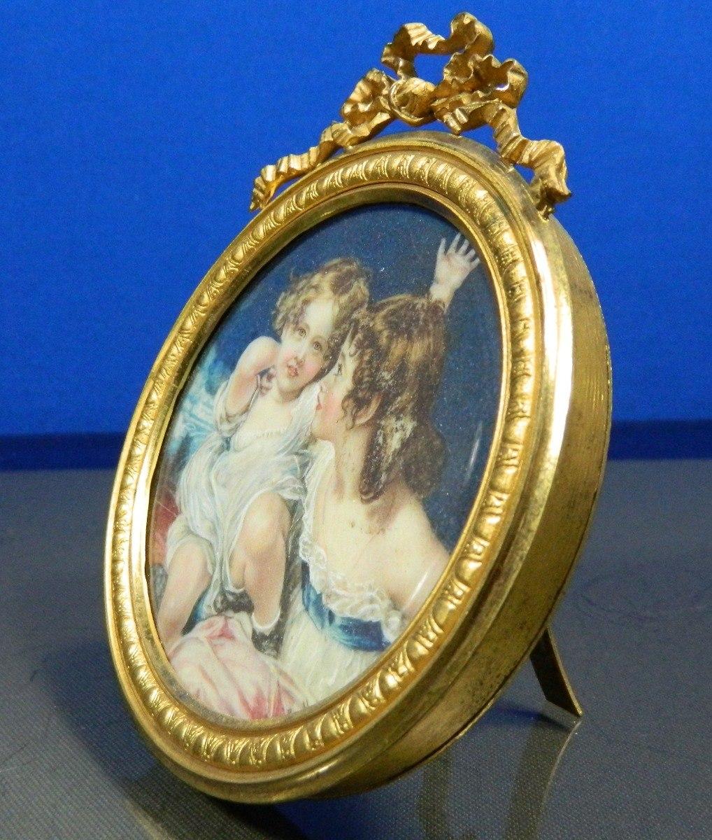 Antigua Pintura En Miniatura En Un Marco De Bronce Firmada ...
