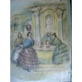Antigua Pintura Lapiz Y Acurela.  Firmado Montalban
