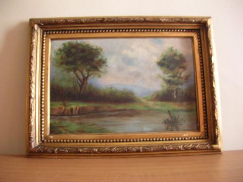 antigua pintura paisaje ingles europeo oleo sobre tela