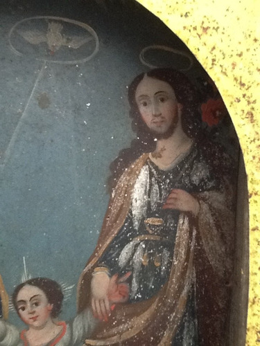 antigua pintura sobre lámina original