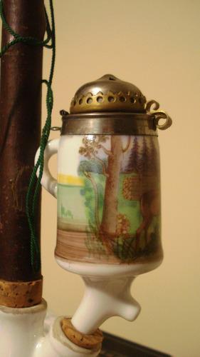 antigua pipa de cerámica cazoleta con tapa rebatible.sin uso