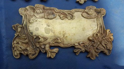 antigua placa art nouveau de bronce sin grabar precio x c/u
