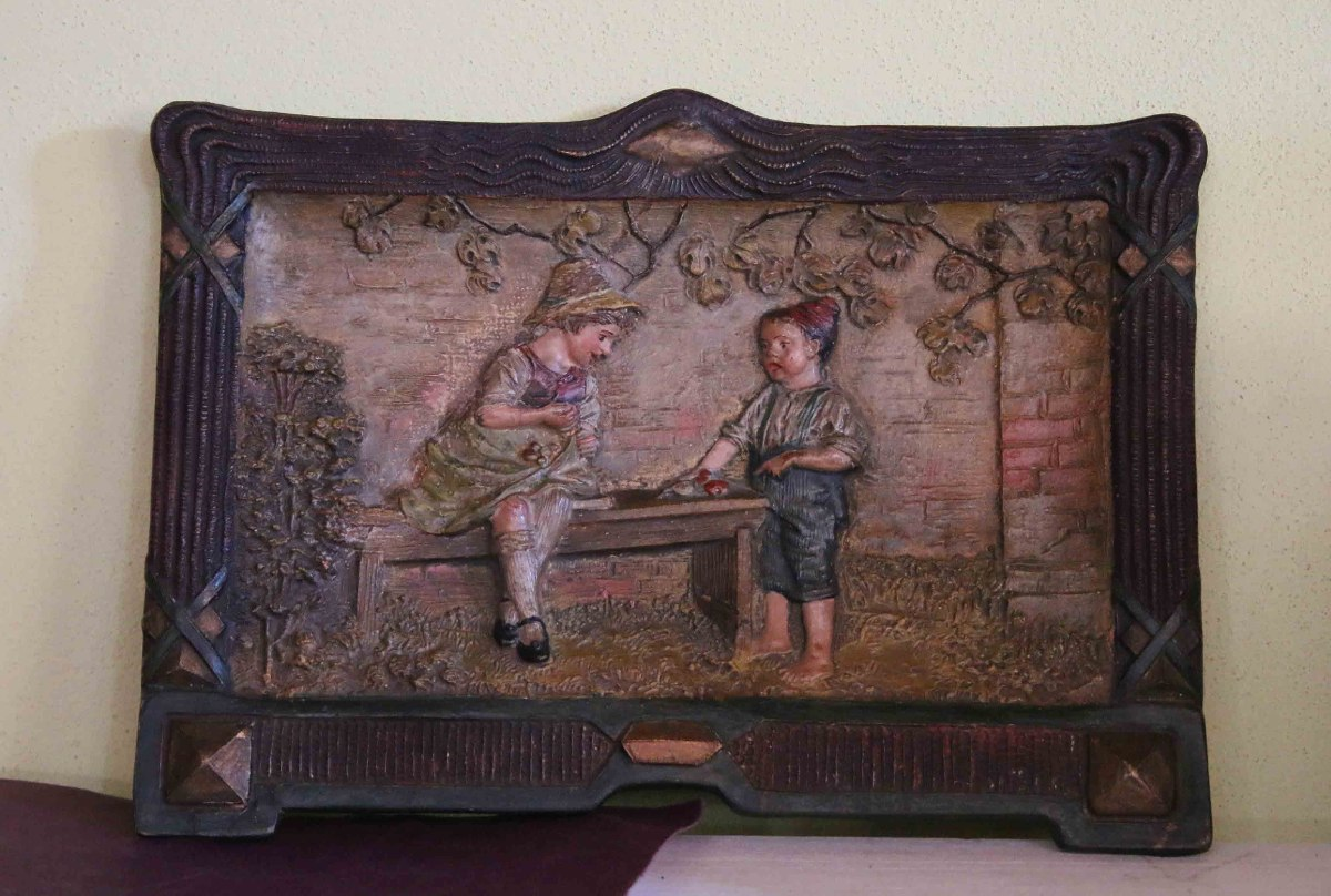 Antigua Placa Ninos Jugando Ceramica Austria 159066 4 025 00