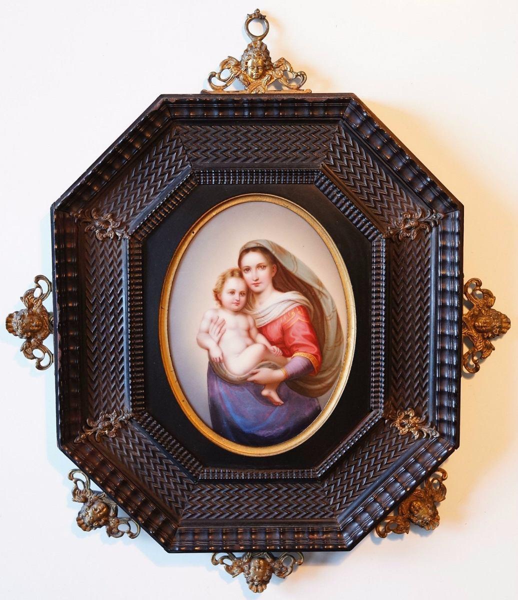 Antigua Placa Porcelana Enmarcada Virgen María Y Niño Jesús ...