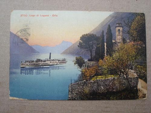 antigua postal 3780 lago di lugano-oria - 1908