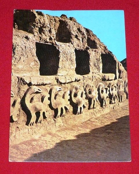 antigua postal alto relieve muro chan chan swiss foto 1977
