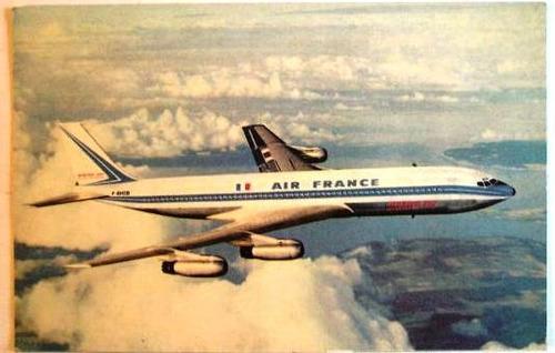 antigua postal avion linea aerea air france boeing 707