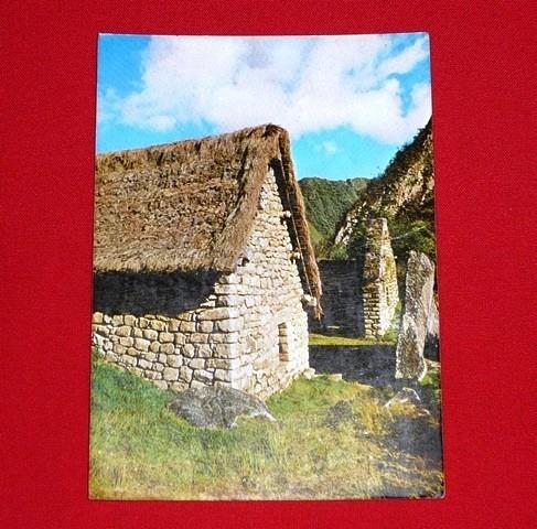 antigua postal casa inca roca sagrada machu picchu 1980