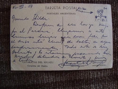 antigua postal cataratas del iguazú garganta del diablo 14x9