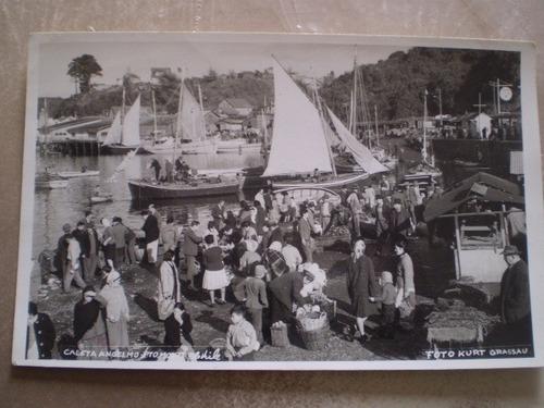 antigua postal de puerto montt  caleta angelmo (49f2