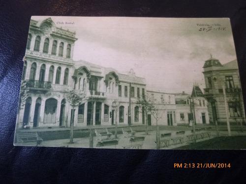 antigua postal de valdivia club social 1918