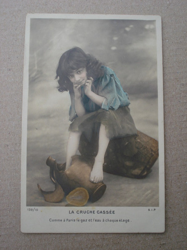 antigua postal francesa la cruche cassee