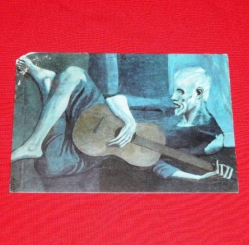 antigua postal hombre con la guitarra picasso italia 1965