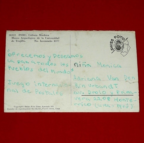 antigua postal huaco mochica museo trujillo blanco y negro