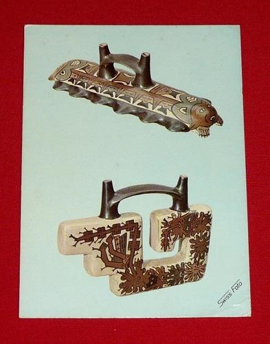antigua postal huacos cultura nasca nazca swiss foto 1973