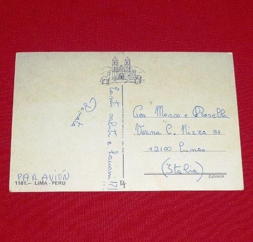antigua postal lima perú años 80 miraflores plaza san martín