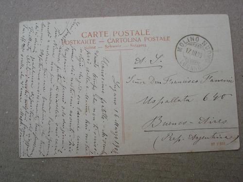 antigua postal lugano - año 1908