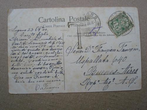 antigua postal lugano-paradiso - partenza del vapore-1909