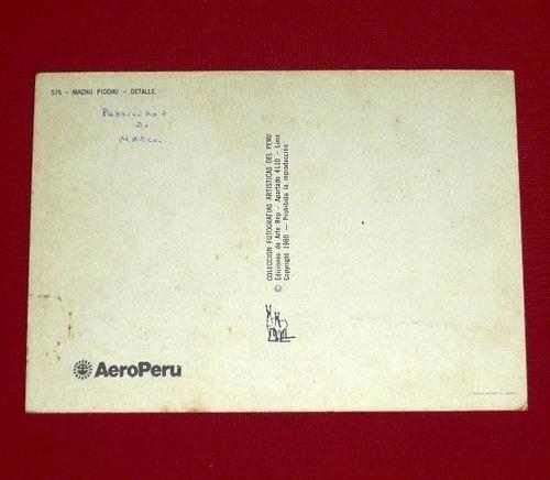 antigua postal machu picchu detalle llama 1980 aeroperú