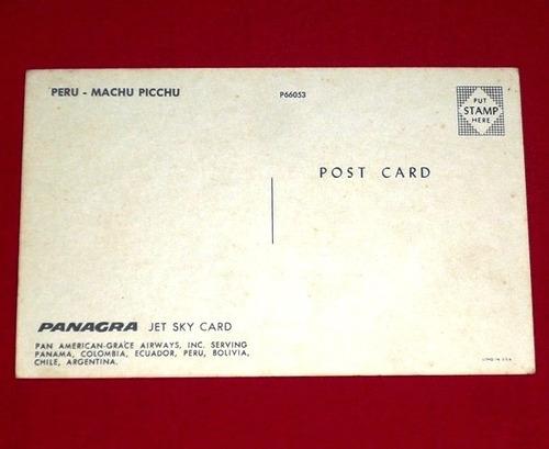 antigua postal machu picchu perú panagra color años 60 70