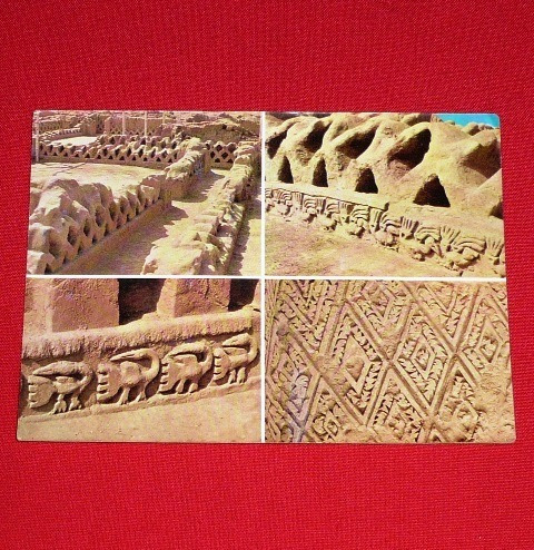antigua postal muros de chan chan chimú trujillo perú 1979