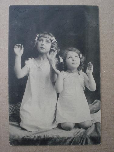 antigua postal nenas rezando 1903 coleccion canovas españa