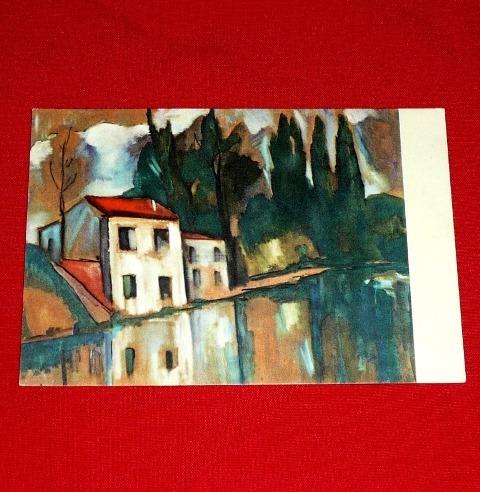 antigua postal paisaje vlaminck parís italia arte pintura