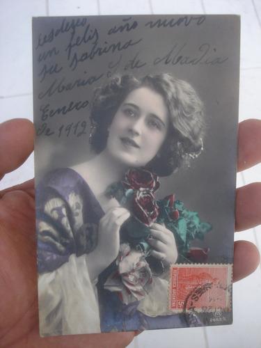 antigua postal romantica fechada 1912