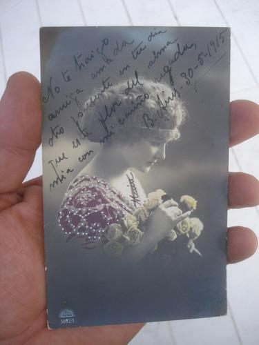 antigua postal romantica fechada 1915