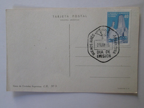 antigua postal rosario monumento dia emision 21 junio 1958