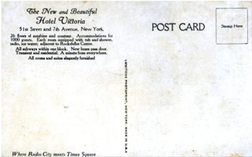 antigua postal vintage hotel victoria, new york, 1939
