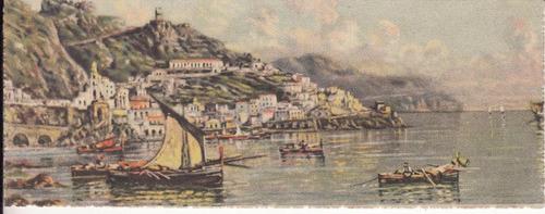 antigua postal vista amalfi italia formato raro 5,5 x 14 cm