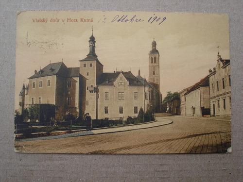antigua postal vlassky dour v hora kutna - año 1909